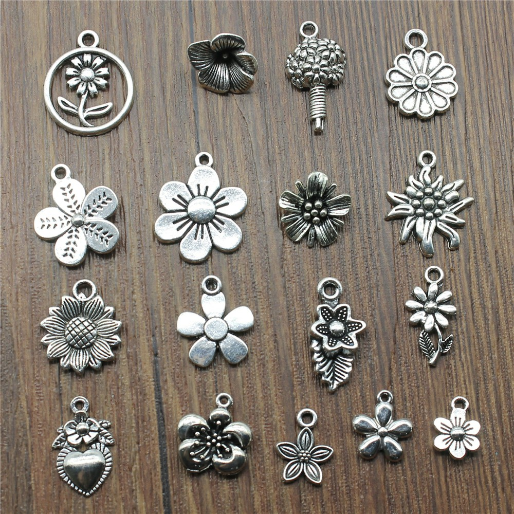 Jewelry Flower Charms Bracelet-Making Silver-Color Antique for 20pcs/Lot Diy