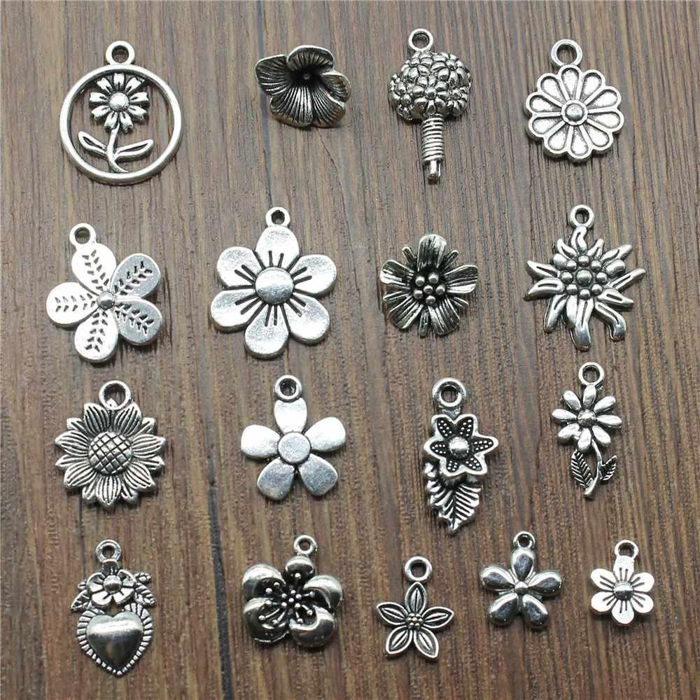 20 шт./лот, амулеты в виде цветов, античное серебро, Подсолнух, амулеты, украшения, сделай сам, маргаритки, амулеты для изготовления браслетов