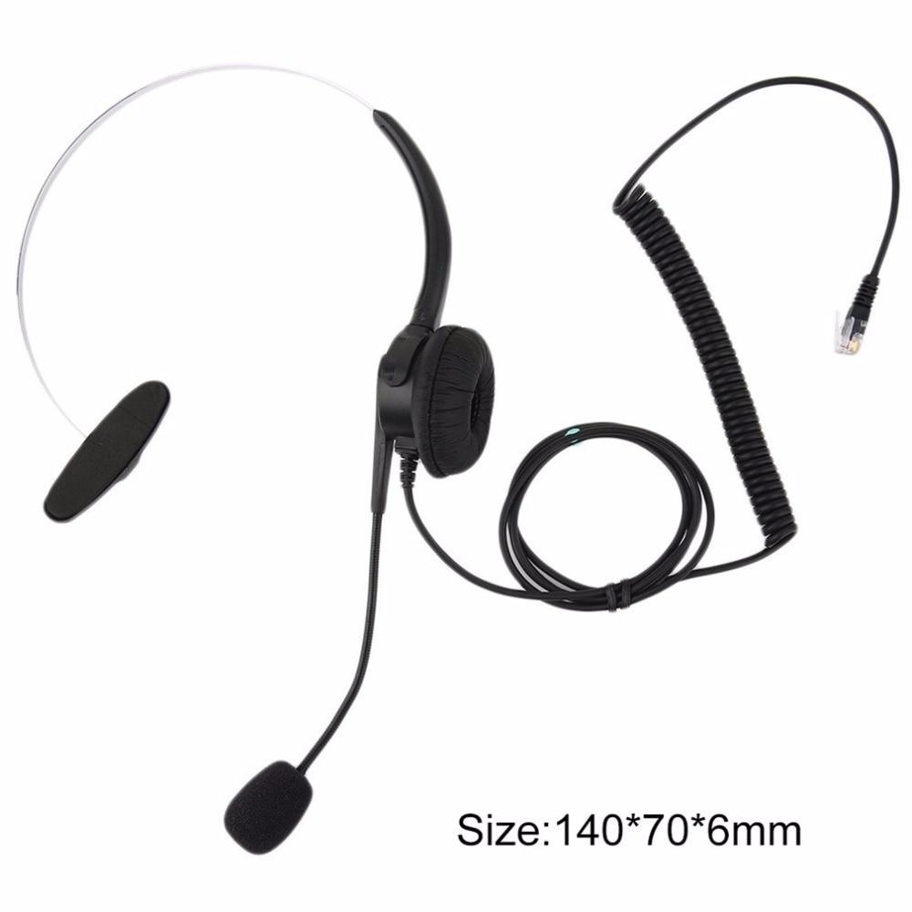 Top Quality Crystal Head Set Telephone Monaural Corded Headset 4-pin Black