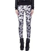 Steampunk Personality Skull Pattern Women Leggings Gothice High Elastic Skull Printed Pants Cotton Skinny Leggings Hot Sale