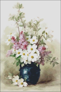 Needlework for embroidery DIY DMC High Quality - Counted Cross Stitch Kits 14 ct Oil painting - Lilacs and White Flowers