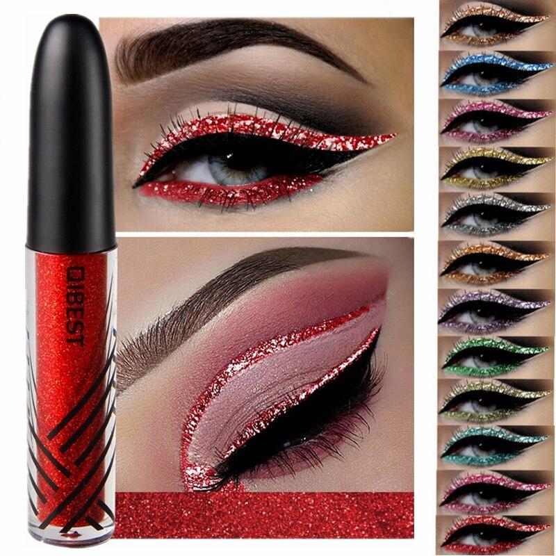 Liquid-Eyeliner Glitter Make-Up Waterproof Long-Lasting Shiny Blue 13-Color Red Gold