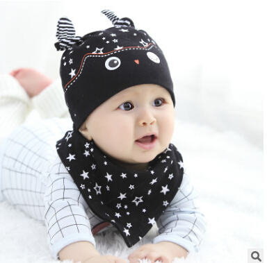 2017 owl pocket spring hat bib set baby hat newborn cap set baby sleeping accessories