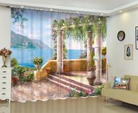 custom print curtain 3d Roman column with sea view 3D Blackout Curtains 2019 Home Decoration