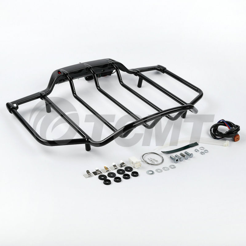 LED Light Air Wing Chrome Luggage Rack For Harley Touring Electra Street Glide Road King Glide Motorcycle Accessories
