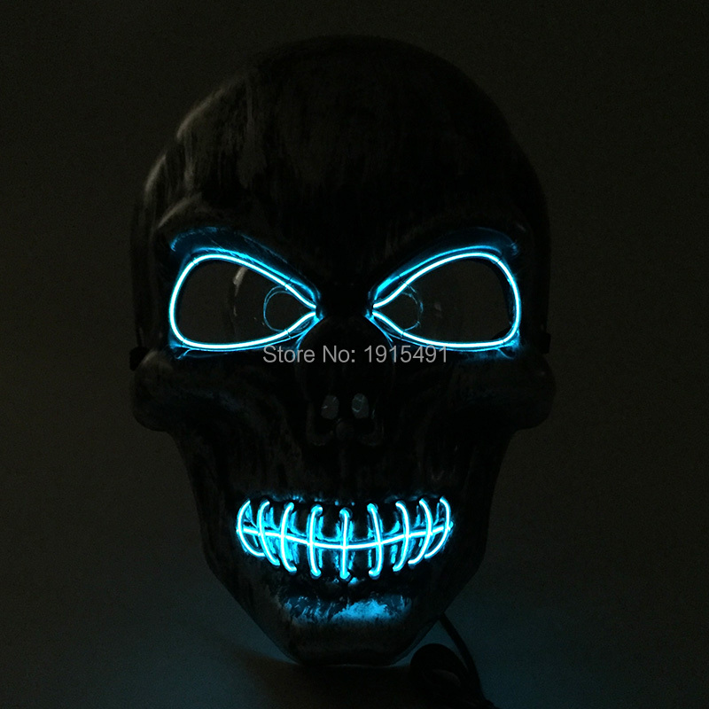 Fashionable Horrible Glittery EL wire Scared Mask Holiday Lighting Monster Camouflage Led Neon Mask for Ghost Movie Party Decor