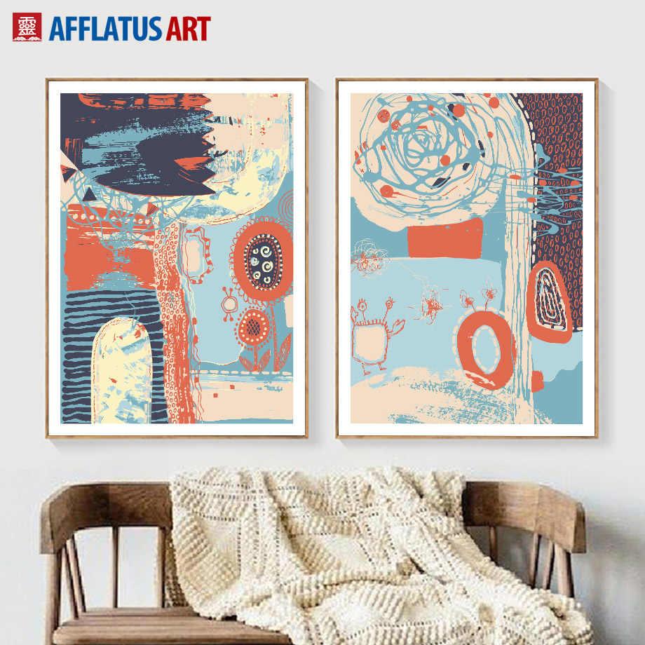 Граффити пейзаж Nordic Плакаты и отпечатки стены Книги по искусству Холст абстрактной живописи стены фотографии для Гостиная Home Decor