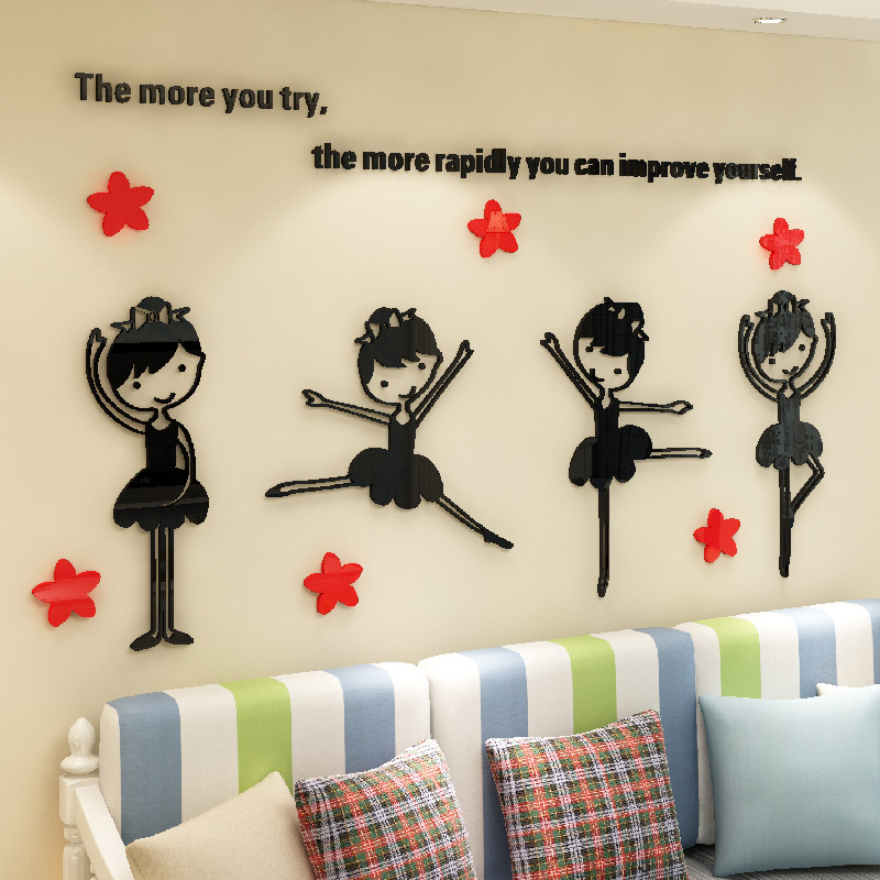 US $8.5 50% OFF|Lovely Girls 3D Wall Stickers DIY Mural Decals For Kids  Bedroom Decoration School Dancing Room Wall Decor Acrylic 3D Stickers-in  Wall ...