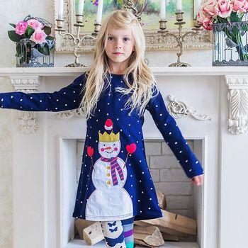 ガールズロングスリーブドレス動物アップリケ王女女の赤ちゃん服子供の綿のドレス服