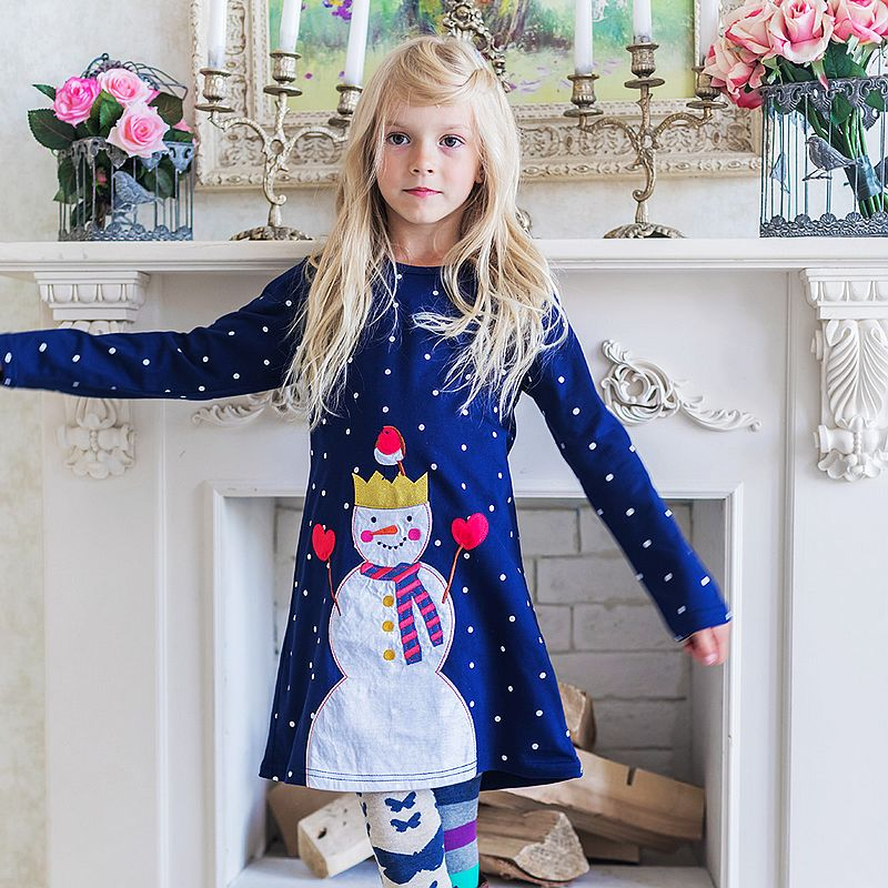 Girls Long Sleeve Dress with Animal Applique Princess Dress Baby Girls Clothes Kids Cotton Dresses for Girls Children Clothing