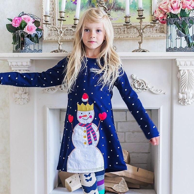 Las niñas Vestido de manga larga con apliques Animal vestido de princesa bebé Niñas Ropa de los niños de algodón vestidos para Niñas Ropa de los niños