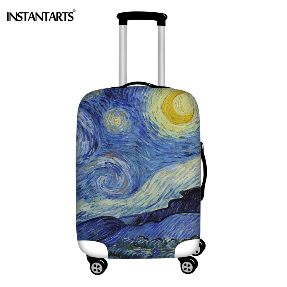 INSTANTARTS Van Gogh Art Oil Painting Luggage Cover Travel Accessories Zipper Waterproof Suitcase Protector Covers For 18