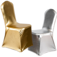 100 PCS Silver /Gold New Spandex Lycra Chair Covers Cover for Wedding Party Hotels Decorations