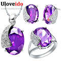 Fashion Silver Plated Crystal Jewelry Wedding Jewelry Sets Ring Earrings Necklace Set of Jewelry for Women Wedding Dress T060