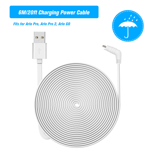 6M Charging Power Cable Fits Weatherproof Indoor/Outdoor Flat Cable Aluminium Alloy Micro USB Cable Charging/Power Cord