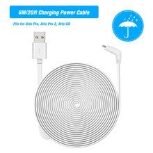 Câble dalimentation Micro USB pour recharge 6M, cordon plat résistant aux intempéries pour lintérieur ou lextérieur, en alliage daluminium