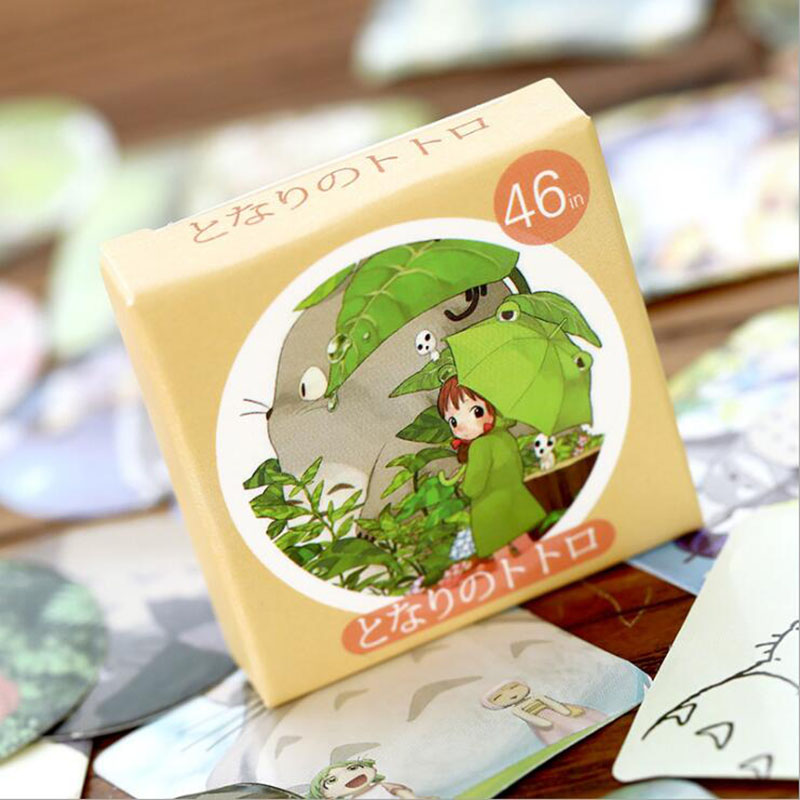 46pcs/Box Cute Totoro Mini Boxed Paper Stickers Mobile Phone Album Decoration Stickers Scrapbook Children Stationery Stickers