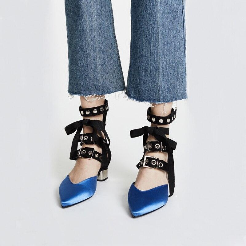 Casual Couleur Pointu Pompes Picture Talon Couture Noir Picture Bout Carré Pereira As Burgun Bleu Moyen Marque Cheville as Sangle Chaussures Blanc vIwdgx8