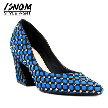 ISNOM Hoof Heels High Pumps Women Pointed Toe Footwear Shallow Party Shoes Female Crystal Kid Suede Shoes Woman 2019 Spring New