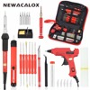 NEWACALOX EU Plug 220v 60w Adjustable Temperature Electric Soldering Iron Kit Tips Portable Welding Repair Carving