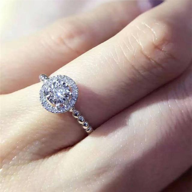 0.16CT Real Diamond 18K White Gold Wedding Engagement Ring