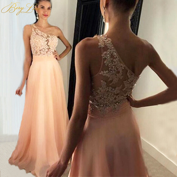 Blush Pink Elegant 2020 Evening Dress  Appliques Lace Beaded One Shoulder Ruched Waist Sash Chiffon Prom Dress Re Soiree Robe