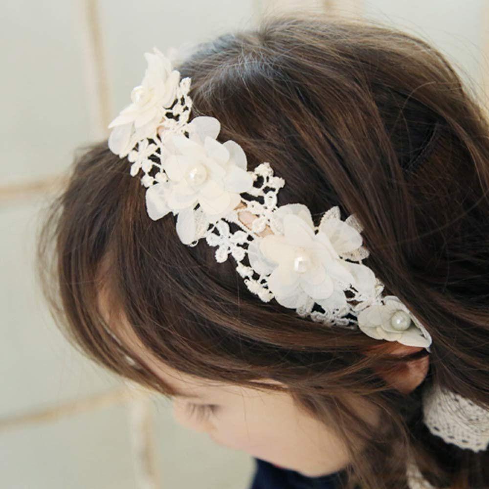 2018 New Elegant Kid Girl Pearl Lace Flower Headband Child Adjustable Princess Ribbon Hairband Party Fashion Hair Accessories