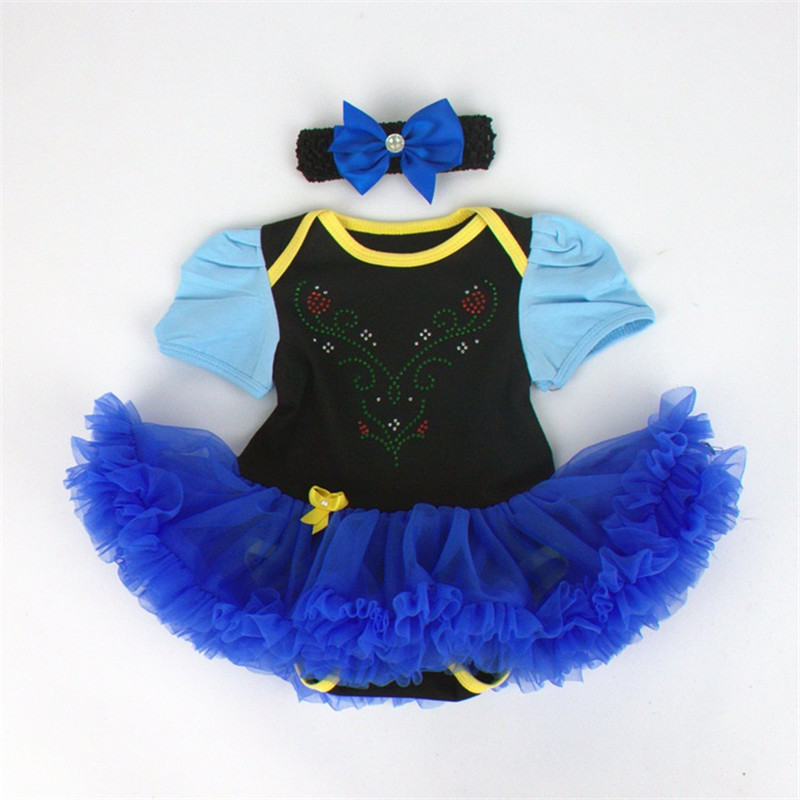 Baby Anna Princess Black Royal Blue Bodysuit Tutu Costume Pettiskirt and Headband 2pcs Onesie Sets First Birthday Party