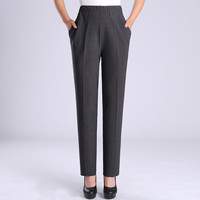 2018 New Fashion Spring Atutumn Middle Aged Women Elastic waist Straight Pants Mother Casual Plus Size XL 5X Trousers C541