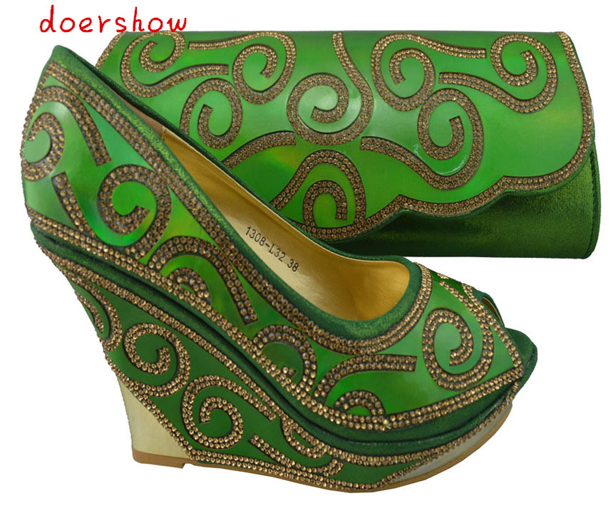 doershow Women high heel ,high quality,italian shoes and matching bags set with Free Shipping by DHL.green !ZX1-67 free shipping no 40 3 red color fo shoes and bag set new summer women s shoes low heel shoes crystal high heel shoes