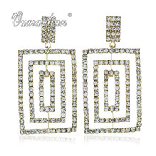 2019 New arrival Luxury Sparkling oblong Crystal Earrings for Women Rhinestone Simple Gold silver color Wedding Party E096 недорого