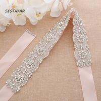 Silver Rhinestones Bridal Belt Crystal Pearls Ribbons Wedding Belt Sash Bridal Bridesmaids Dresses Accessories J201S