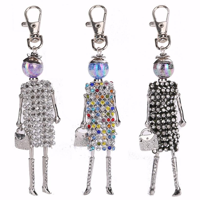 YLWHJJ new girls doll Rhinestone keychain for women cute colour key chain car pendant Accessories handmade fashion jewelry