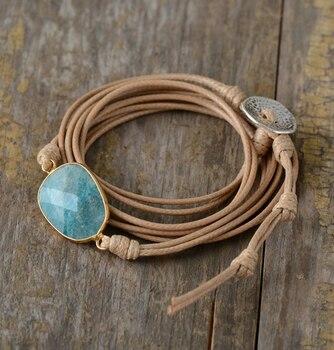 Bracelet à lanière de cuir avec la protection amazonite