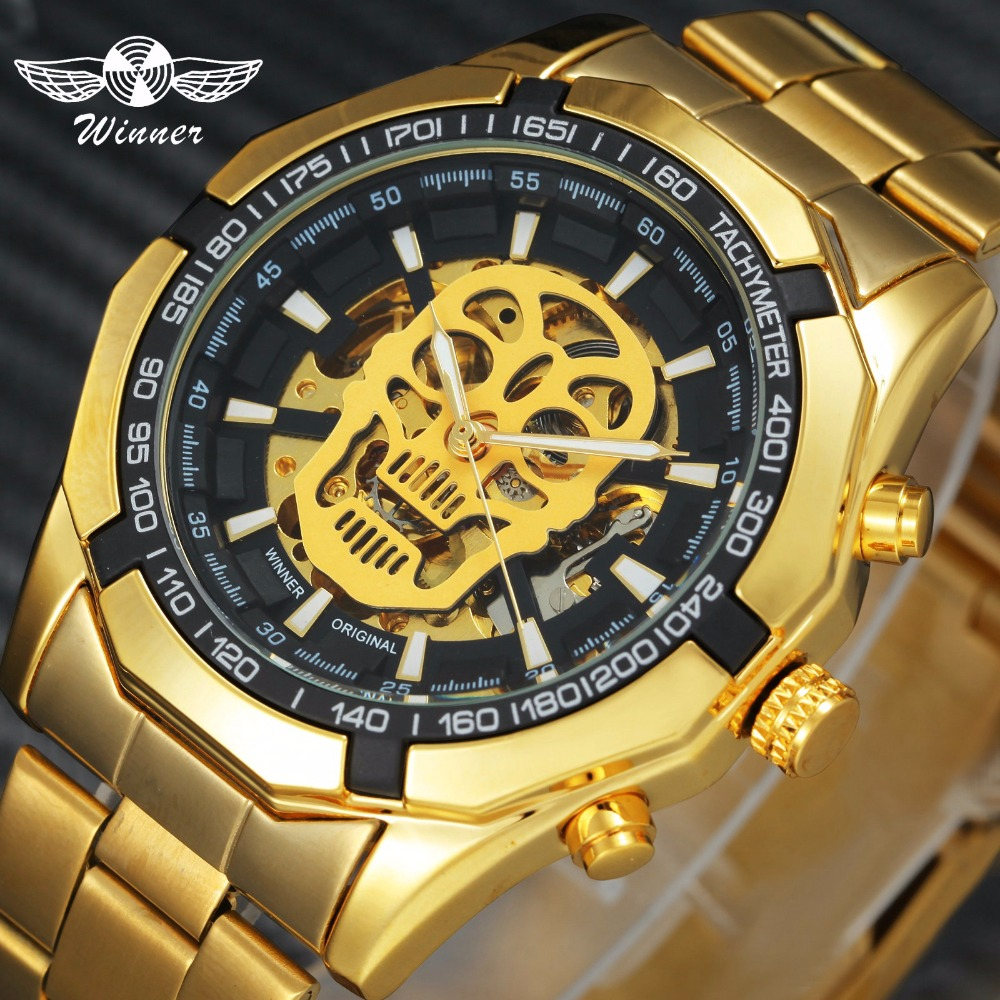 Auto Mechanical Watch Golden Stainless Steel Strap Skull Design Skeleton Dial Wristwatch