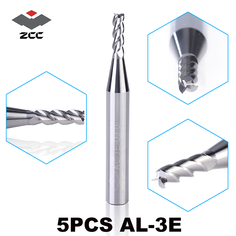 5PCS/LOT ZCC.CT AL-3E 1-6mm Solid Carbide 3 Flute Flattened End Mill With Straight Shank Cnc Milling Cutter High Precision