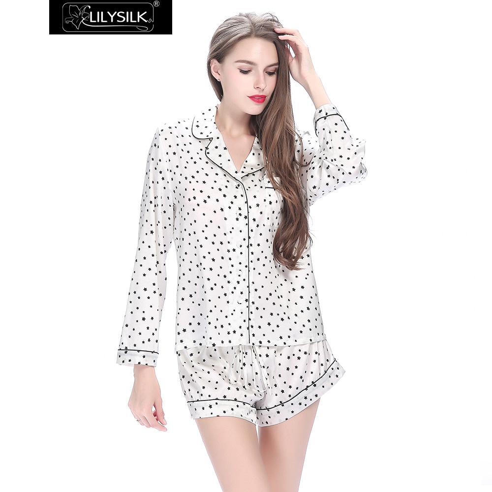 cac382d7c937d2 R$ 543.55 |Mulheres Pijamas De Seda Lilysilk Top Branco Puro Camisa de  Manga Longa com Teste Padrão de Estrelas 19 Momme Feminino Verão 2016  Roupas ...