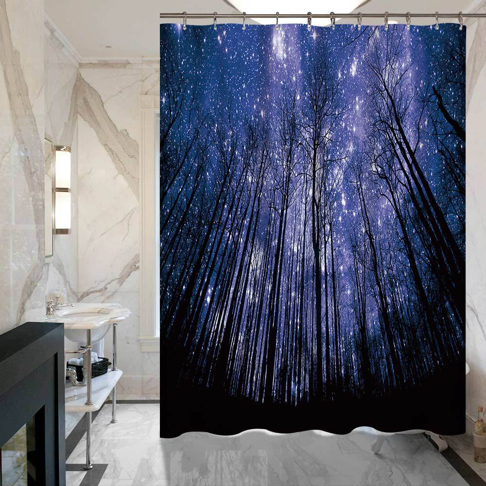 SunnyRain 1 Piece 3D Printed Starry Sky Woods Shower Curtain For Hotel Bath Water Resistant 150x180 175x180 In Curtains From