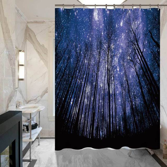 SunnyRain 1 Piece 3D Printed Starry Sky Woods Shower Curtain For Hotel Bath Water