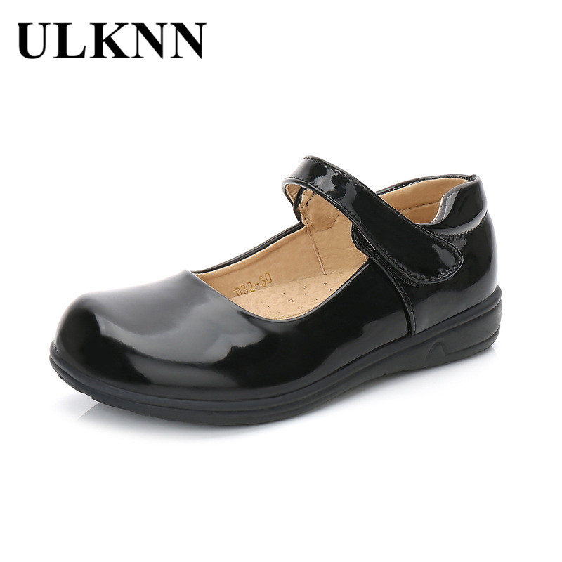 ULKNN Princess Flat Shoes Kids Girls Leather Shoes Mary Jane Kids Party Dress Shoe Patent Leather Rubber Children Enfant Fille