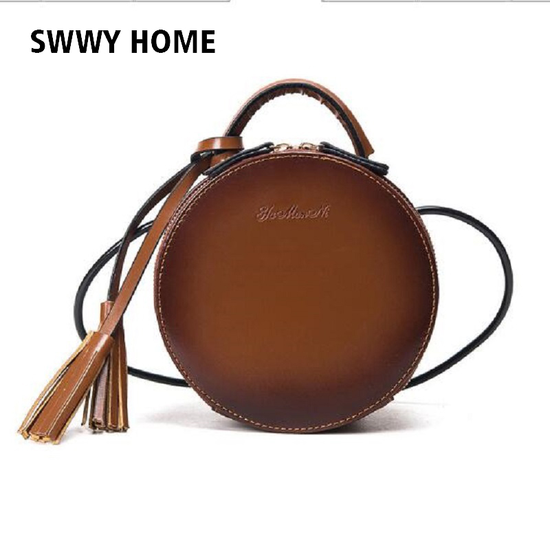 Women Bag Female Handbags Leather Shoulder Bag Crossbody Famous Brand Tote Handbag Round red Cute Small Fashion Bags with tassel цена и фото