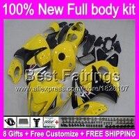 Fairing SUZUKI Hayabusa GSXR1300 08 09 10 11 12 13 14 15 19B20 GSX R1300 Sarı siyah GSXR 1300 2008 2009 2010 2011 + çıkartma