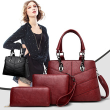 купить Female Bag 3 Piece Set 2019 Luxury Handbags Fashion Women Bags Leather Shoulder Bag Purses and Splicing Style Lady Handbags по цене 3188.82 рублей