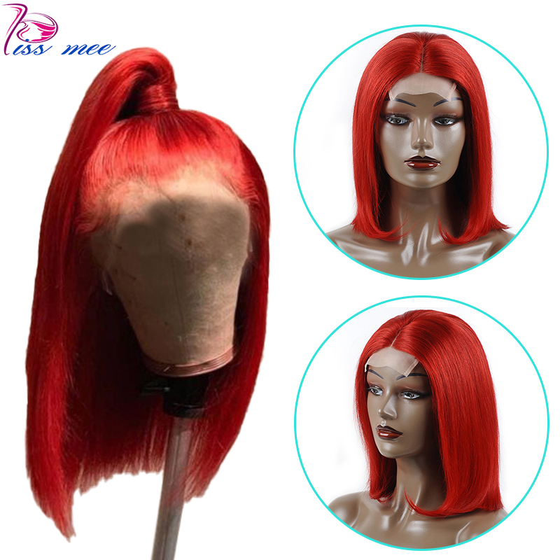 Wig Lace-Wig Short Human-Hair Bob Burgundy Straight Ombre Women Brazilian Black Red