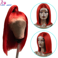 Kiss Mee Red Straight Human Hair Lace Front Wig Ombre Burgundy Bob Short Human Wig For Black Women Remy Brazilian Lace Wig