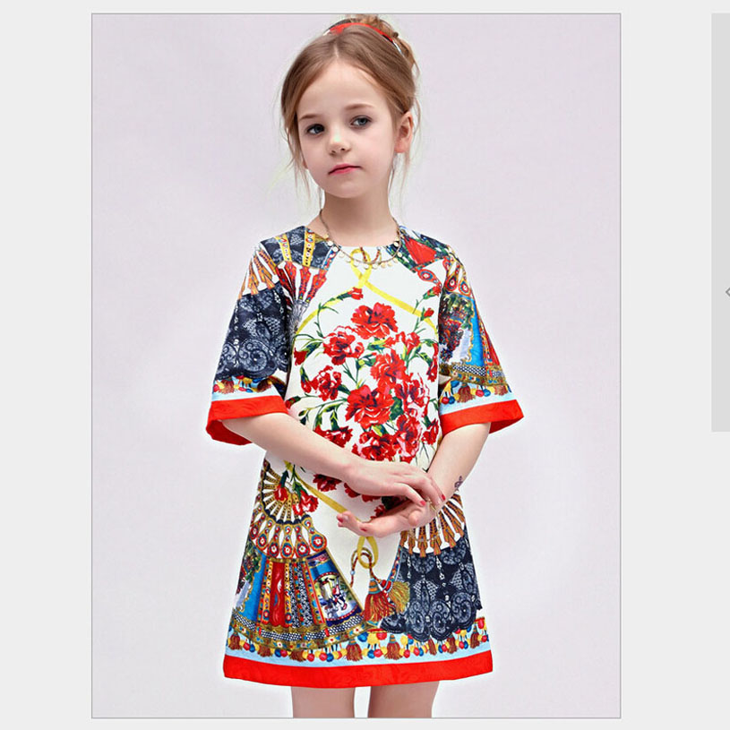 Spring Dresses For Girls Printing Kids Party Frocks Princess Child Clothing For Girl Robe Fille Casual Girl Party Dresses