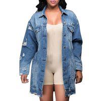 New Women Fashion Hole Ripped Denim Jackets Coats Female Long sleeve Loose Oversized BF style denim jean jacket coat streetwear