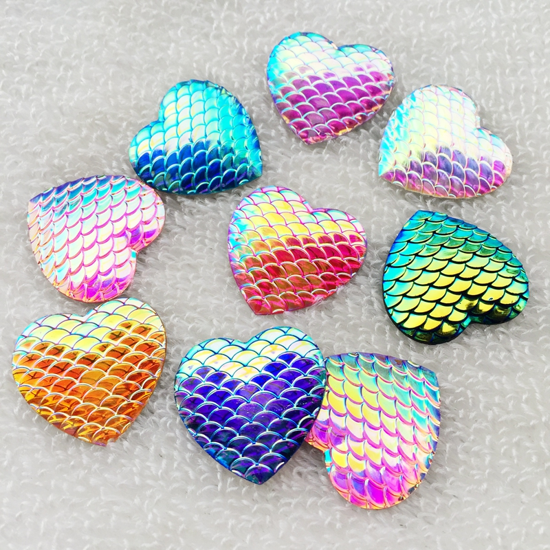 12pcs 25mm AB Resin snake scale Flatback Heart rhinestone Cabochon DIY Wedding decoration -A46