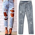 2017 Spring New Fashion Women Ladies Medium Waist Big Hole Washed Regular Blule Denim Jeans Casual Full Length Pants Trousers