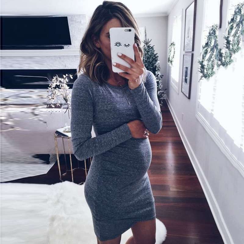 S 2Xl Maternity Dress Autumn Winter Pregnancy Clothes For -3852